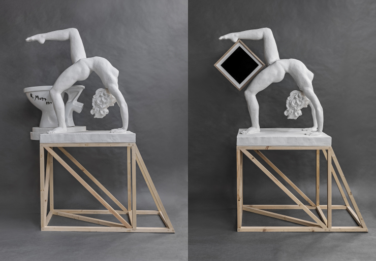 Alexander Kosolapov. Duchamp-Girl, 2020. Malevich-Girl, 2020. Mixed media. Courtesy Syntax gallery